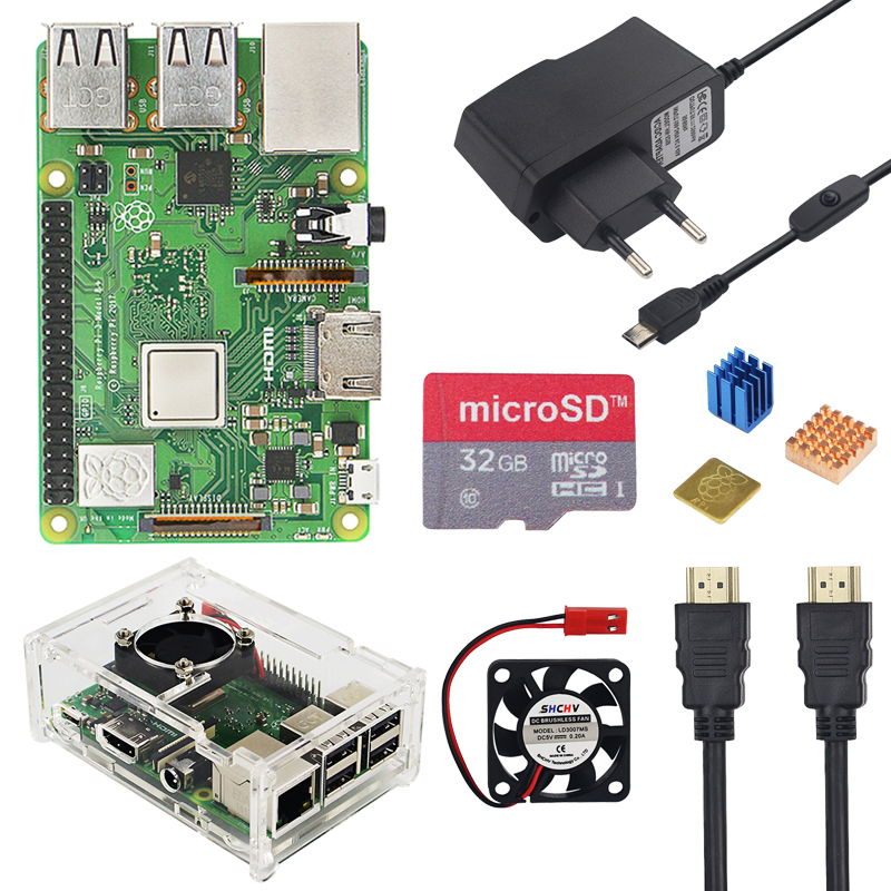 Raspberry Pi 3 Model B+ Plus Kit 32GB SD Card + Fan + 2.5A Switch Power Adapter+ Heat Sink + HDMI Cable For Raspberry Pi 3 B+