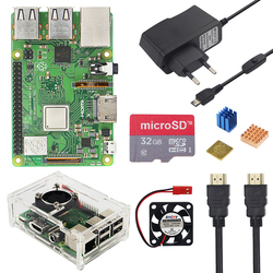 Raspberry Pi 3 Modelo B + Plus Kit 32GB tarjeta SD + ventilador + 2.5A adaptador de interruptor + disipador de calor + Cable HDMI para Raspberry Pi 3 B +
