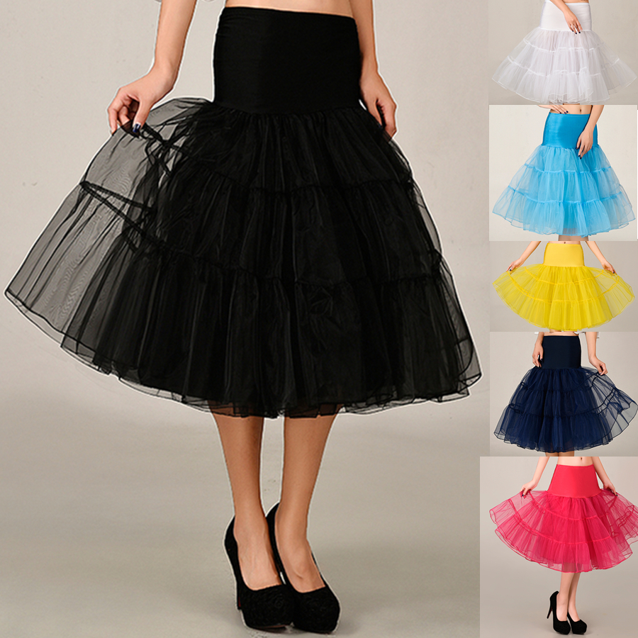 2020 Spring Cosplay Petticoat Woman Underskirt 65CM Length Knee Short For Wedding Petticoat 3 Layers Puffy Organza Evening Tutu