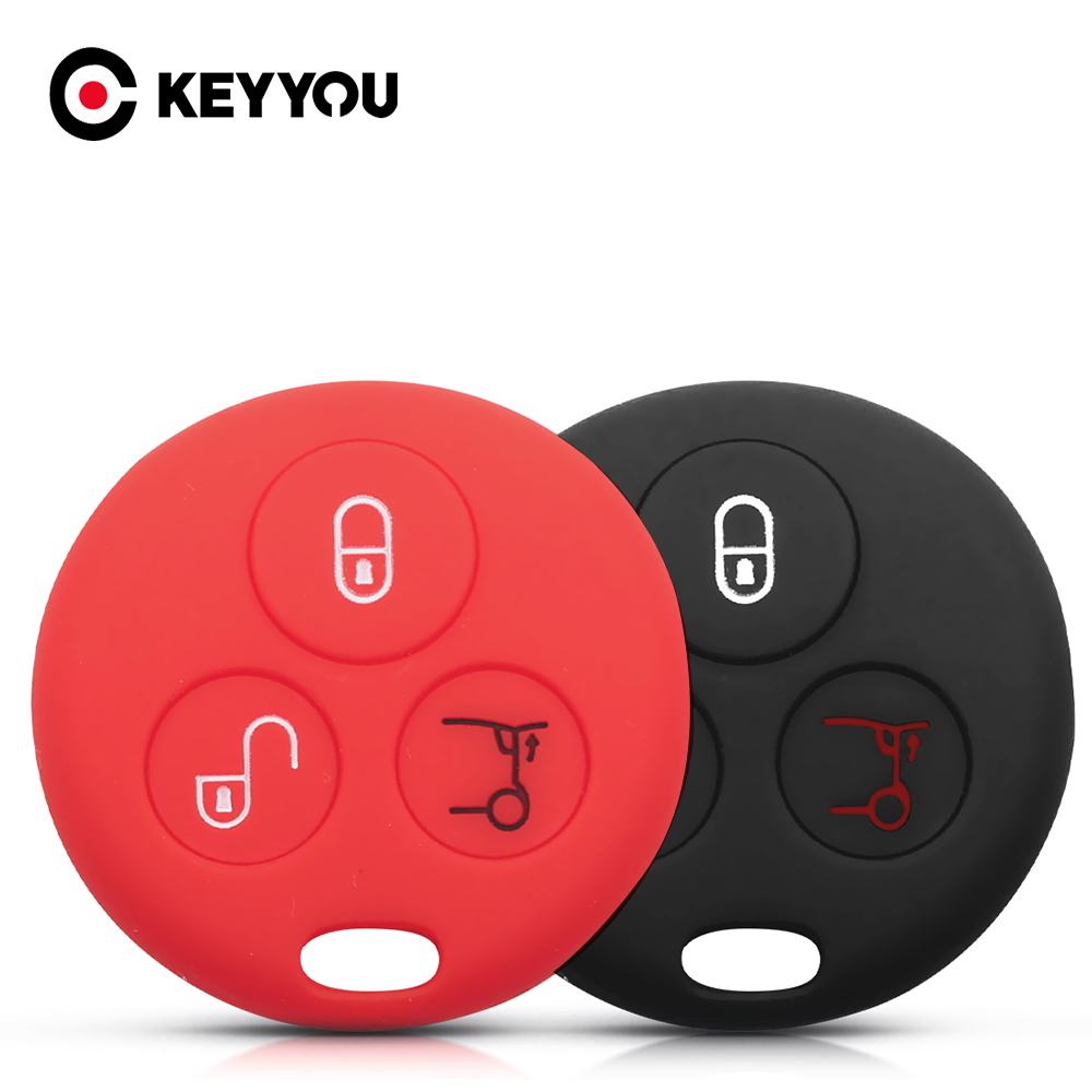 KEYYOU Key Rings Premium Silicone Car Key Case Skin Jacket For Mercedes Benz SMART Fortwo 450 Forfour Roadster Body Protection