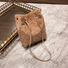 Women Fall Winter Fleece Shoulder Bag, Vintage Magnetic Buttons Plush Bucket Bag Crossbody Phone Purse