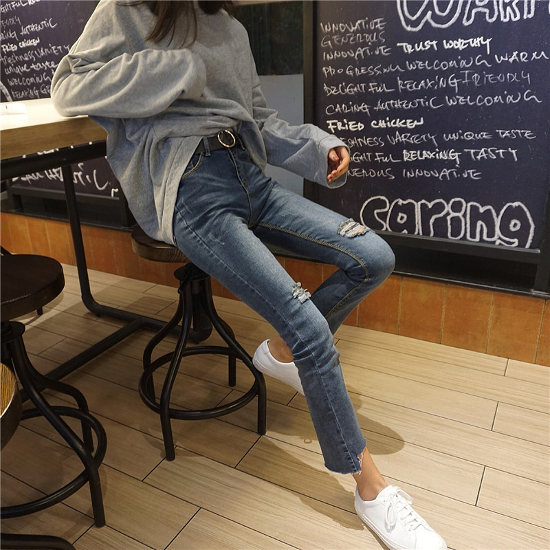 Spring Clothing WOMEN'S Dress 2019 New Style Korean-style Slim Fit Grinding With Holes High-waisted Slimming Capri Pants Micro T