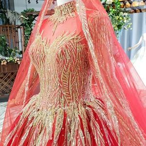 Image 5 - HTL795 moslim trouwjurk met bruidssluier kralen patroon hoge hals lange mouwen gouden kant wedding gown red vestido novia