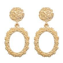 pendientes mujer moda 2019 aretes de Real Hot Sale Pendientes Metal Pattern Elliptical Eardrop Women