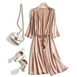 Новинка, женская пижама из 100% натурального шелка тутового цвета, пижама, домашняя одежда, ночная рубашка с рукавом 3 четверти, ночная рубашка...