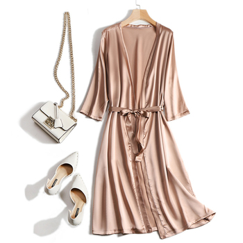 New Women 100% Real Mulberry Silk Nightwear Sleepwear Pajamas Home Clothing 3 quarters Sleeve Nightgown NightclothesSI0019