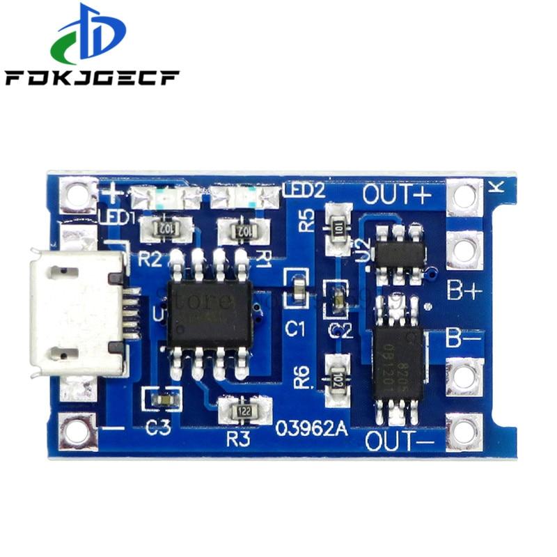 10 шт., зарядная плата TP4056 с Micro USB, 5 В, 1A, 18650