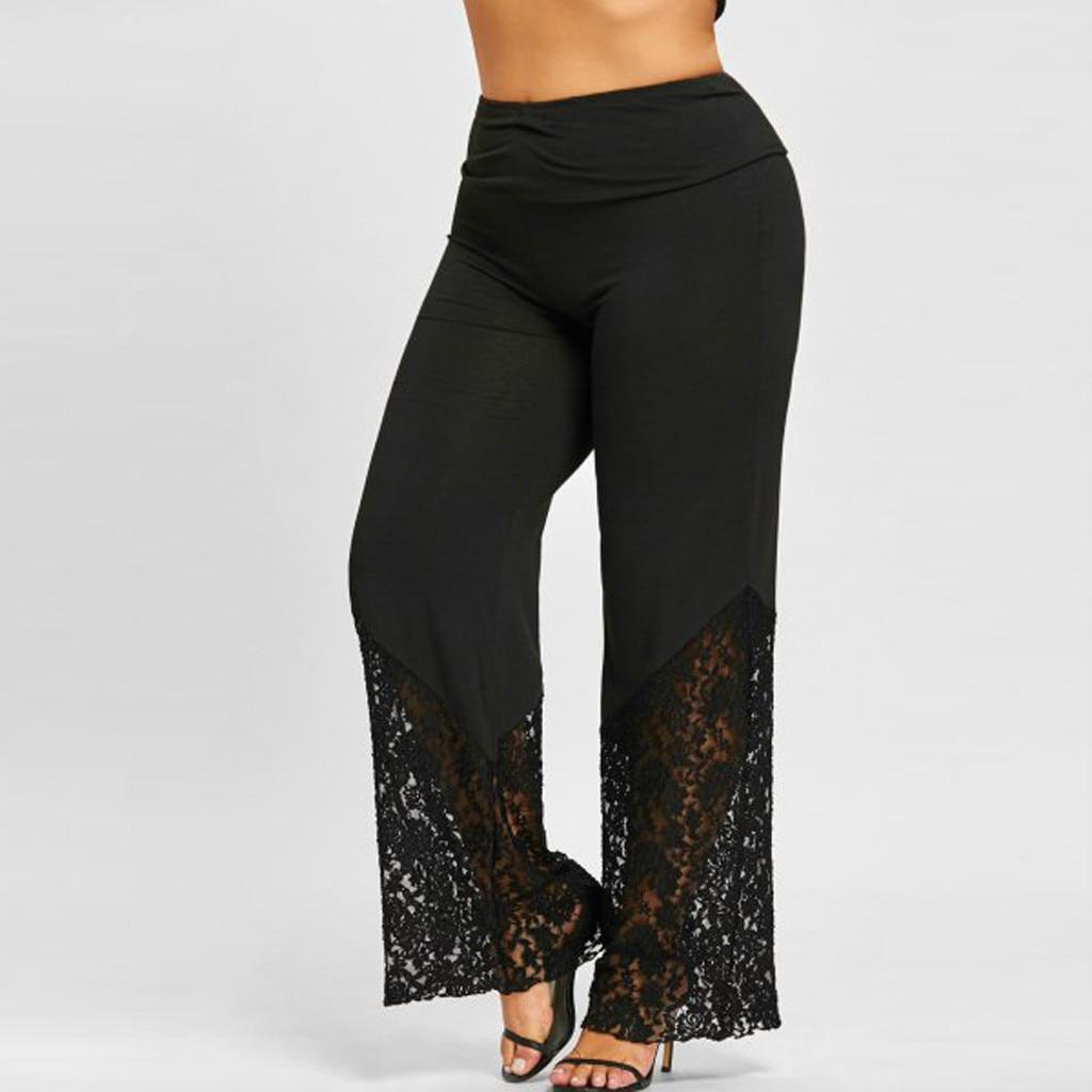 Элегантные кружевные выдалбливают широкие брюки для женщин Высокая талия черные брюки для женщин эластичный пояс размера плюс M 5xl Spodnie Damskie # G30 Брюки       АлиЭкспресс