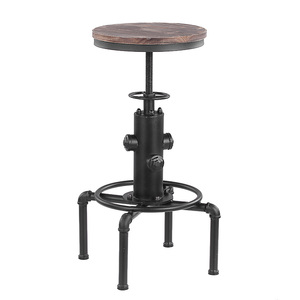 iKayaa Metal Industrial Bar Stool Height Adjustable Swivel Pinewood Top Kitchen Dining Chair Pipe Style Barstool tabouret de bar
