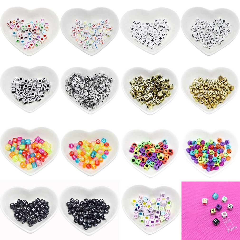 100 Pcs Acrylic Spacer Beads Letter Beads Square Alphabet Beads To Make Jewelry DIY Handmade Accessories Toys For Girls