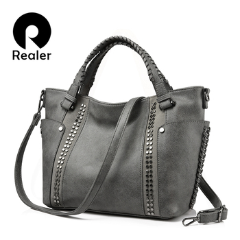 REALER women handbags female artificial leather totes ladies shoulder crossbody bag large messenger top-handle bag rivets bucket