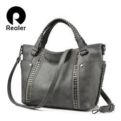 Mais real bolsas femininas de couro artificial totes senhoras ombro crossbody saco grande mensageiro topo-alça saco rebites balde