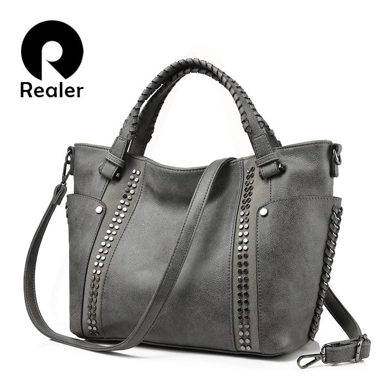 REALER women handbags female artificial leather totes ladies shoulder crossbody bag large messenger top handle bag rivets bucket-in Top-Handle Bags from Luggage & Bags