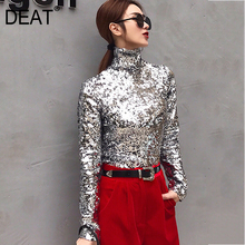 T-Shirt Sequins DEAT Fashion Women Turtleneck Autumn Full-Sleeves Winter And Top-Wc83910xl