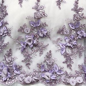 Image 4 - 9Color Gold Purple Black White Red Wedding Dress Lace Fabric 3D Chiffon Flowers Nail Bead Lace Fabric Free Shipping RS35