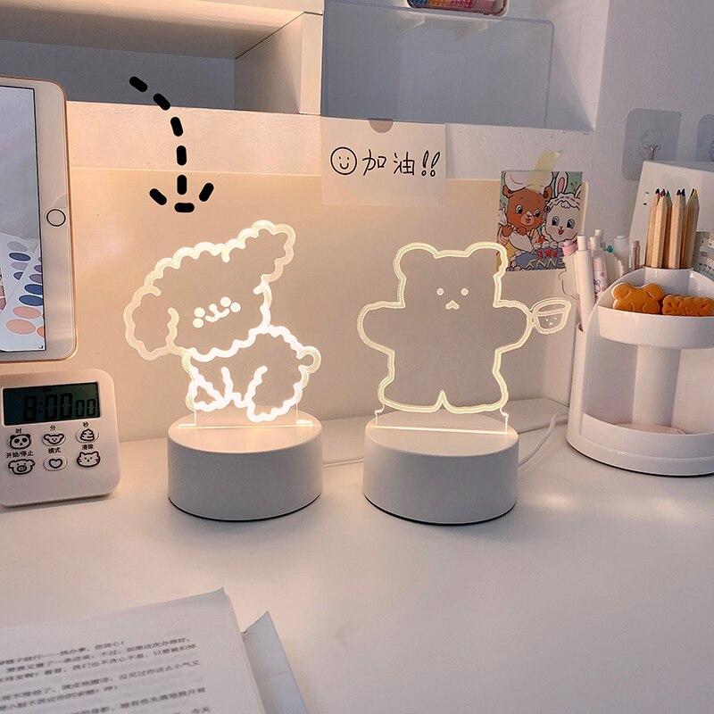 MINKYS Kawaii Lovely Bear Bedside Lamp Reading Aids Curly Dog Night Light Adjustable Lamp Girls Kids