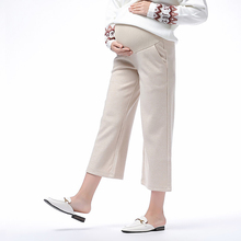 Comfortable Casual Adjustable Belt Pregnancy Nine Pants High Waist Stretch Loose Pregnant for Women
