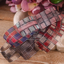 100yards 25mm 38mm scotish gingham tartan plaid checked organza sheer ribbon for hair bow diy accessories bouquet packing