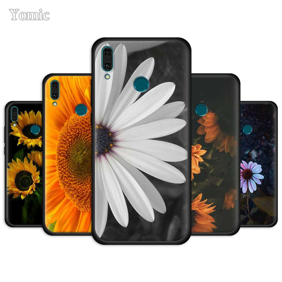 <font><b>Summer</b></font> Daisy Sunflower Flower <font><b>Case</b></font> for <font><b>Huawei</b></font> Y9 Prime Y7 <font><b>Y6</b></font> Y5 2019 <font><b>2018</b></font> Nova 5 5i Pro 5T Honor 3 <font><b>Silicone</b></font> Black Phone Cover image