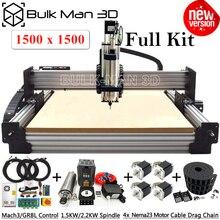 Mais novo 1515 workbee máquina do roteador cnc kit completo com sistema de tensão tingle 4 eixos cnc gravador completo kit de madeira metal moinho cnc