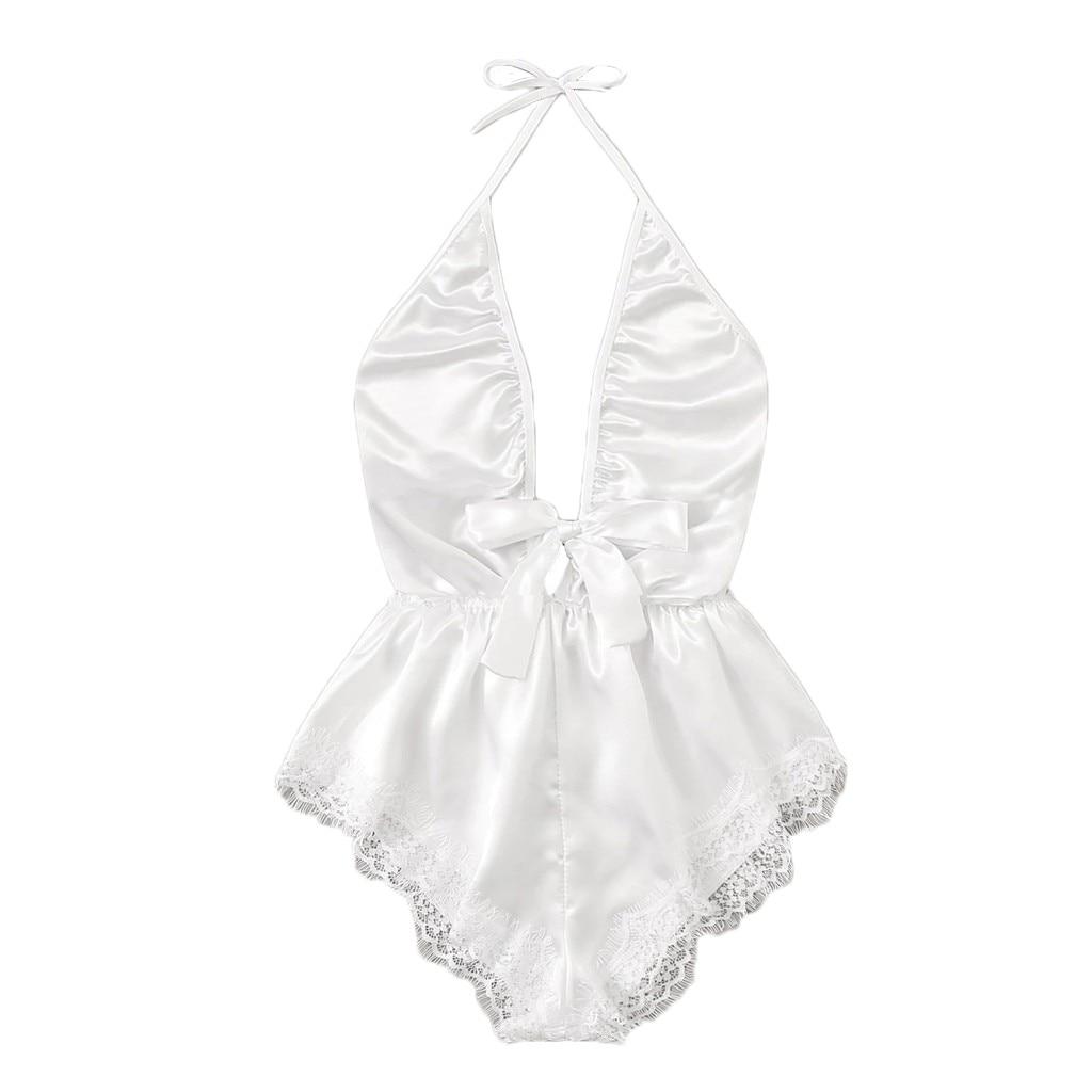 Exotic Set Temptating Women Transperent V-Neck Lace Stain Bow Lingerie Bodysuit Sleepwear Pajamas Silk Jumpsuit Adult Sex Toys