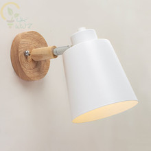 Wooden Wall lights bedside wall Lamp Modern Wall Sconce for bedroom Nordic 6 color Macaroon steering Head E27 Home Lighting