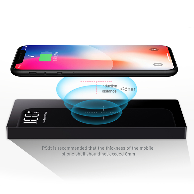 QI Wireless Charger Power Bank 20000 mAh For Xiaomi Mi 2 Quick Charge 2A PowerBank Portable Charger External Battery For iPhone image