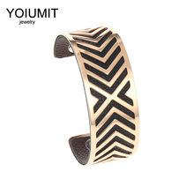 Cremo Stainless Steel Bracelet Manchette Femme Jewelry Yoiumit Cuff Bracelets Reversible Leather Rose Gold Bangles For Women все цены