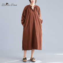 BelineRosa Loose Oversized Style Women's Blouse Dresses Side Slit Simple Pure Color Autumn Dresses YYBW0005 embroidered high low slit side blouse