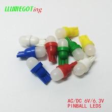 50pcs 194 T10 #555 טרז חלב לבן כיפת 2x 5630SMD שונים צבע ללא קוטביות AC DC 6V 6.3V פינבול משחק מכונת Led נורות