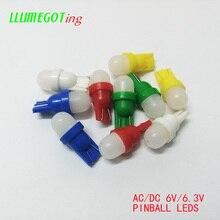 Bombillas Led de varios colores para máquina de juego de Pinball, cuñas de leche blanca, 2x 5630SMD, no polaridad, AC DC 6V 194 V, 50 Uds., 555 T10 #6,3