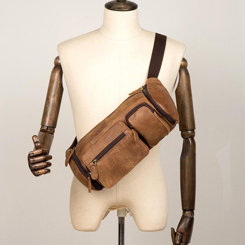 Crazy Horse Leather simple vintage chest bag men's shoulder messenger belt bag heuptas male women waist fanny pack mujer bum bag