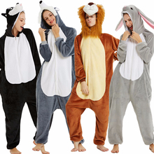 Animal Kigurumi 여성용 잠옷 남성용 겨울 플란넬 유니콘 개 팬더 라이온 Onesie Pajamas 성인 점프 슈트 따뜻한 잠옷