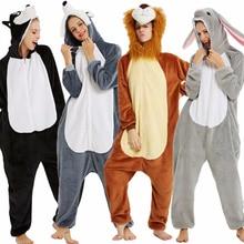 حيوان Kigurumi منامة للنساء الرجال الشتاء الفانيلا يونيكورن الكلب الباندا الأسد نيسيي منامة الكبار حللا الدافئة ملابس خاصة