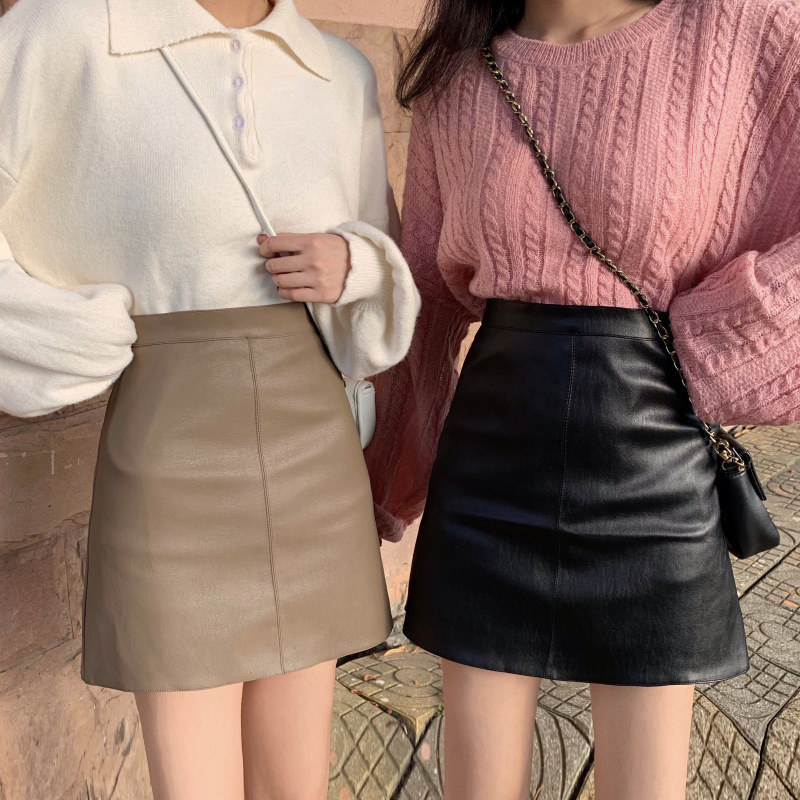 Photo Shoot Easy To Take Black And White With Pattern Leather Skirt Korean-style High-waisted Slimming A- Line Skirt Pu Autumn A