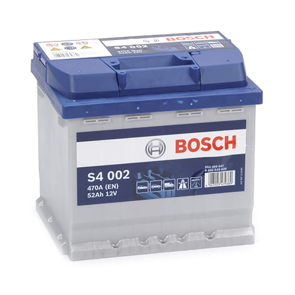 Bosch S4002 Batería de coche - 12 V 52Ah 470 A (EN) - Positivo a la Derecha - Medidas 20,7 X 17,5 X 19