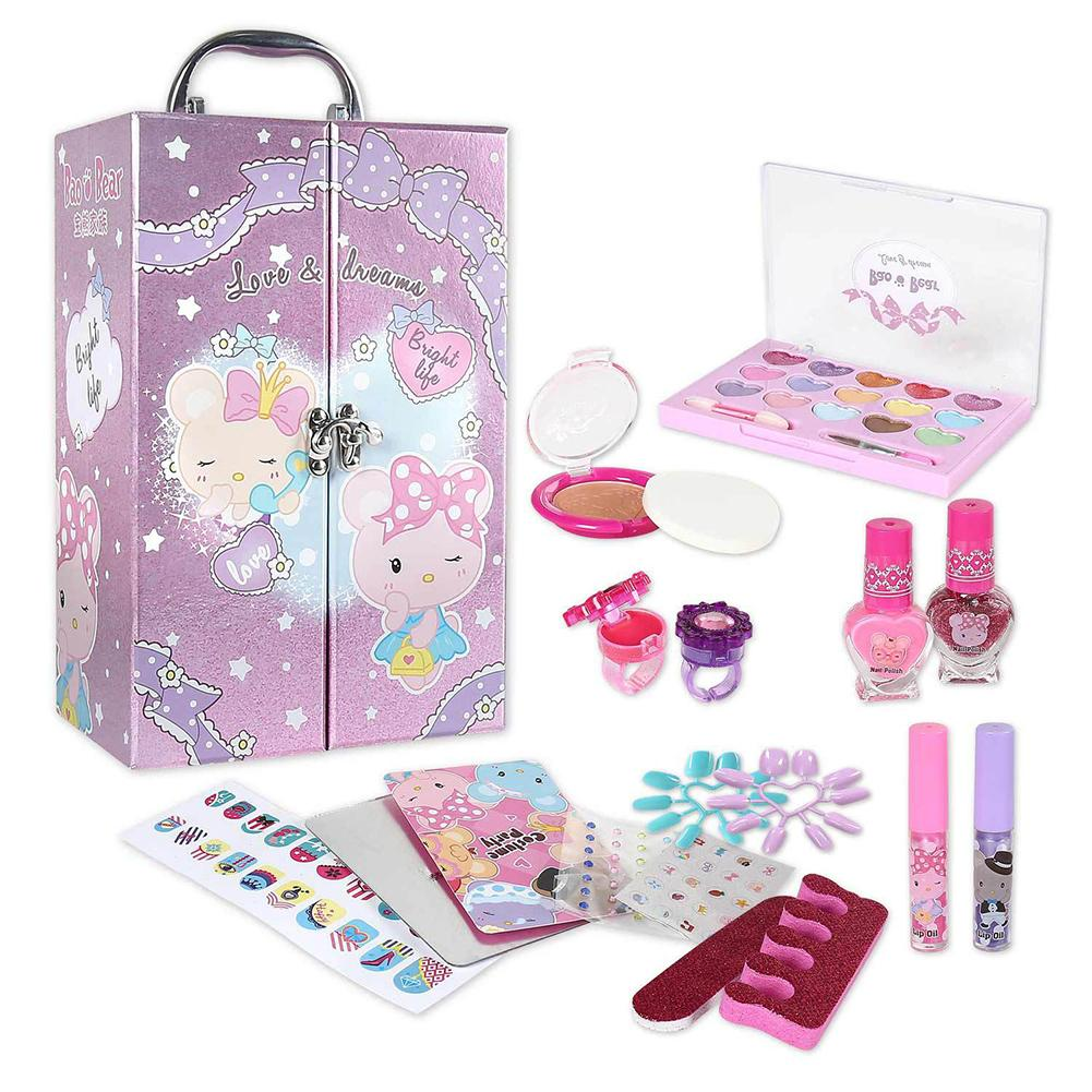 Kids Makeup Set Toys Suitcase Dressing Cosmetics Girls Toy Portable Treasure Box Set Pretend Play Children Makeup Girl Game Gift