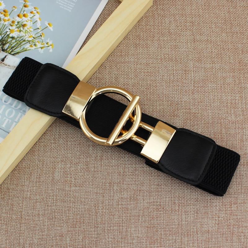 Summer Elastic Belt Rhinestone New Dress  Elastic Elastic Wide Waist Seal Simple Golden Round Button Women's Decorative Belt
