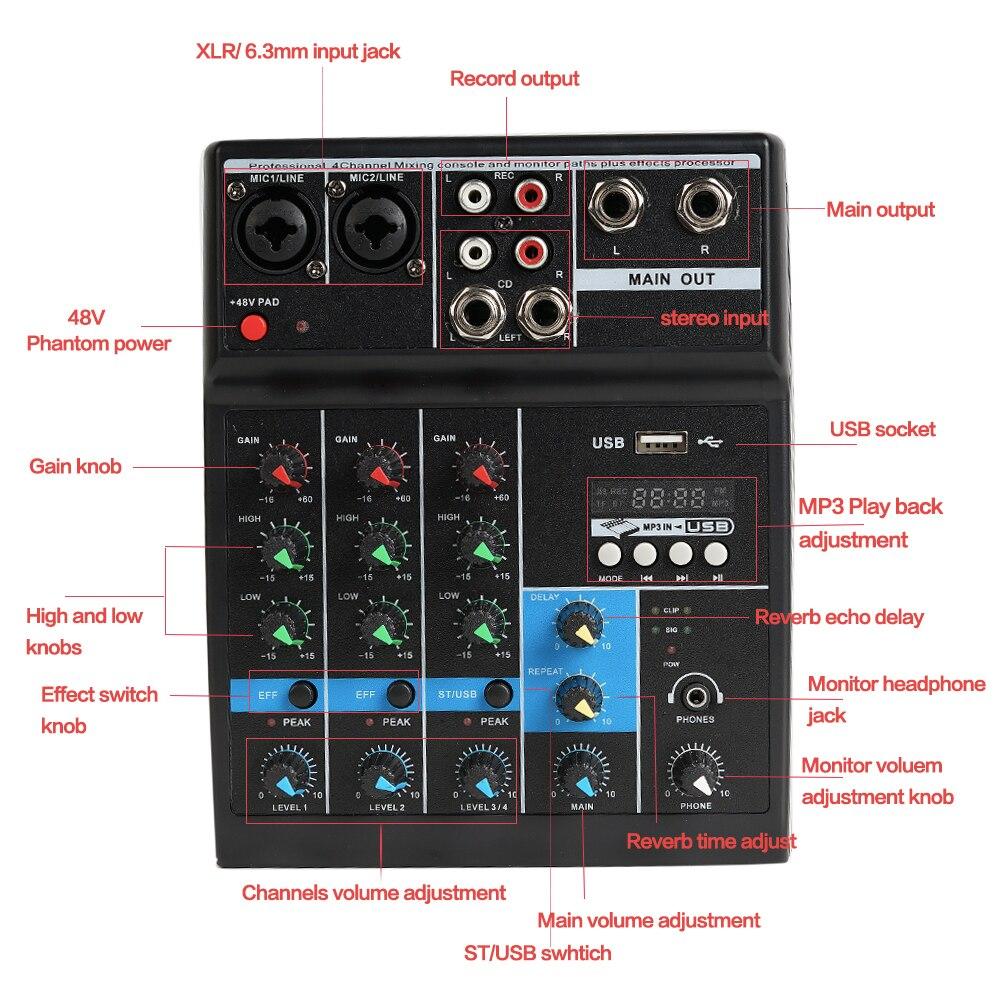 Mini table de mixage Audio amplificateur karaoké professionnel avec USB Bluetooth DJ Console de mixage sonore prise MP3 2 canaux micros mélangeur