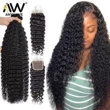 28 30 32 дюймов глубокая волна 3 4 пряди с 4x4 кружева Фронтальная застежка бразильский 100% человеческие волосы переплетения по оптовой цене, Кудр...