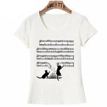 Divertido Vintage gatos y hoja de música Premium Camiseta con cuello redondo moda mujer manga corta linda chica Casual camisetas de verano femenino