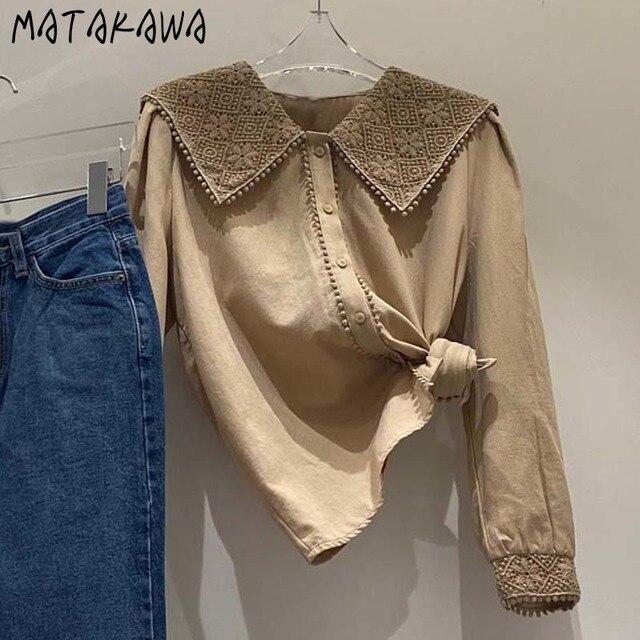 MATAKAWA Sweet Casual Blouse Women Top Korean Lace Hook Flower Blusas Turn-down Collar Long-sleeved Shirt Female 3