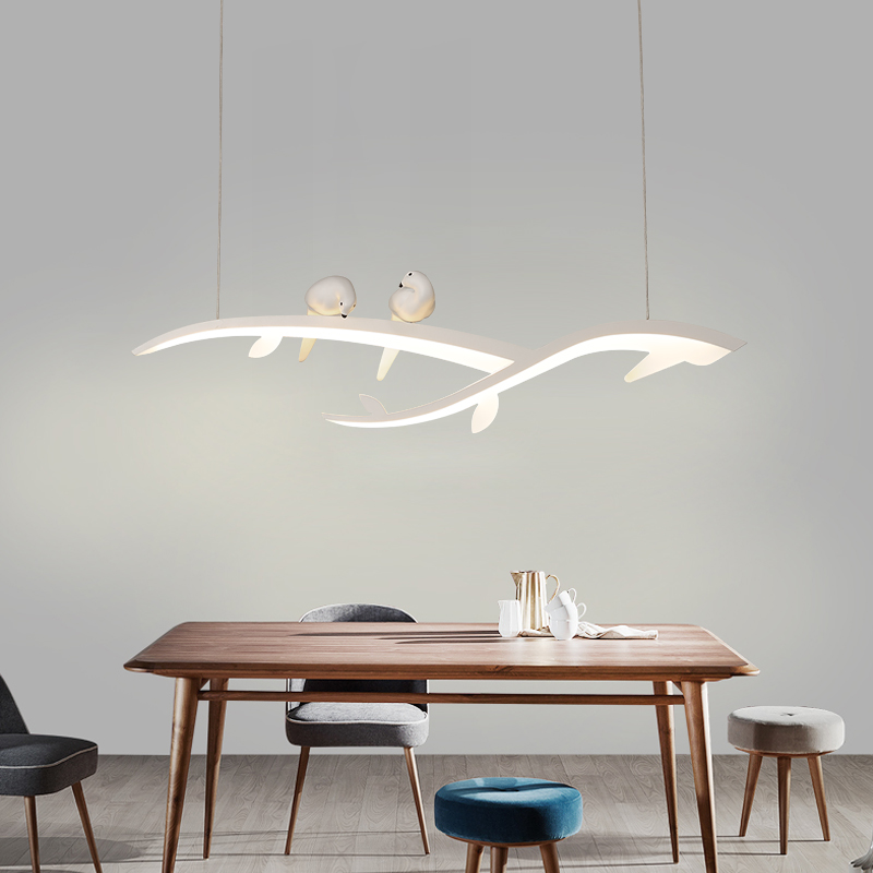 Image 2 - Modern Led Hanging Chandelier For Dining Room Kitchen Room Bar Shop Chandelier White With Bird 90 260V Free Shipping-in Chandeliers from Lights & Lighting