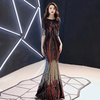 AE479 2020 New Evening Dress Long Sparkle Sequins Half Sleeve O-Neck Women Elegant Sequin Mermaid Maxi Evening Party Gown Dress 2019 spring new women half sleeve loose flavour black dress long summer vestido korean fashion outfit o neck big sale costume