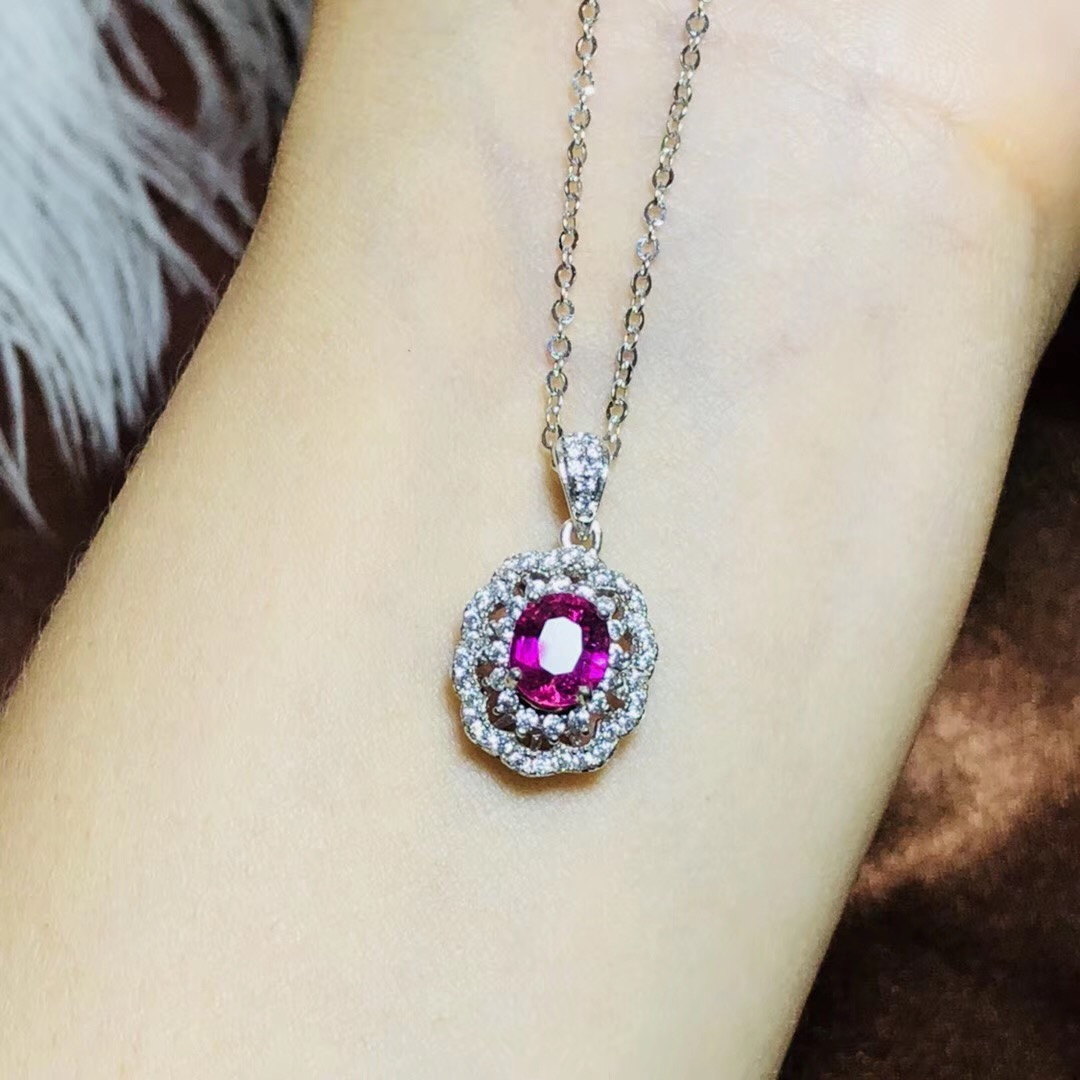 BOEYCJR 925 collier en argent Sterling tourmaline chaîne bijoux énergie collier pendentif en pierres précieuses pour les femmes cadeau 2019