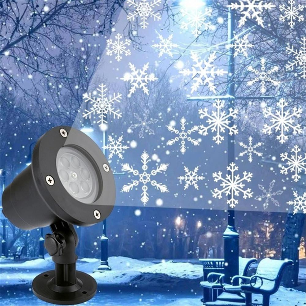 <font><b>LED</b></font> Christmas <font><b>Light</b></font> Outdoor Waterproof Snowflake Projection Lamp Projector Lighting for Lawn Stage Garden Decorations EU/US Plug image