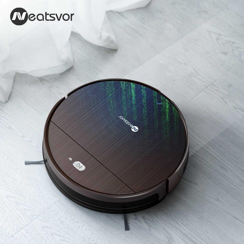 Neatsvor V392 Coklat Robot Vacuum Cleaner Sapu & Pel Basah untuk Lantai Kontrol Aplikasi Peta Navigasi Direncanakan Biaya Auto Robot 1800PA