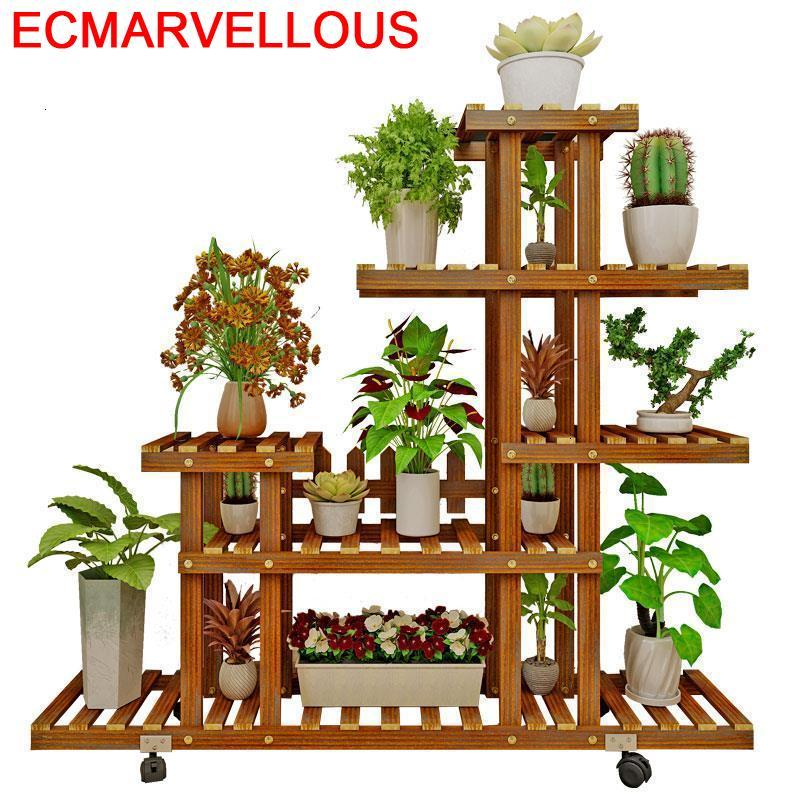 Jardin Living Room Wooden Shelves Etagere Plante Pot For Rack Outdoor Stojak Na Kwiaty Balcony Flower Shelf Plant Stand