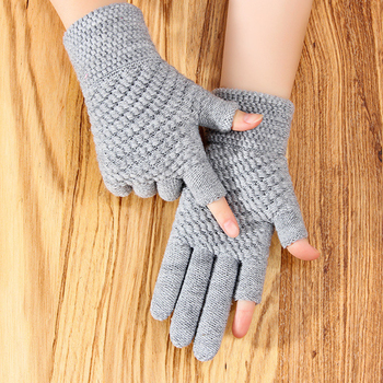 Winter Men's Gloves Female Warmth Office Thick Knitted Wool Two-finger Exposed Writing Games Playing Phone Fingerless Gloves image