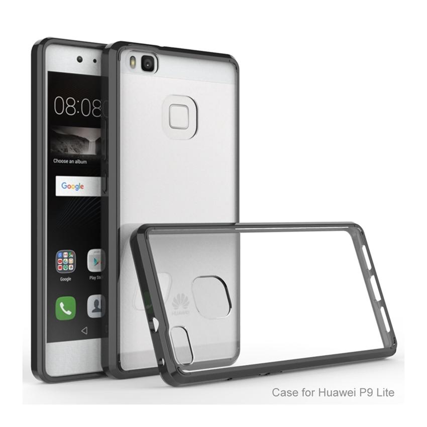 Híbrido À Prova de Choque Capa Crystal Clear Shell de Volta Transparente Almofada de Ar Quadro Caixa Do Telefone Para Huawei P9 Lite P9Lite Fundas Capa